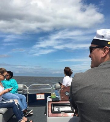 Team on a boat on Lake Michigan