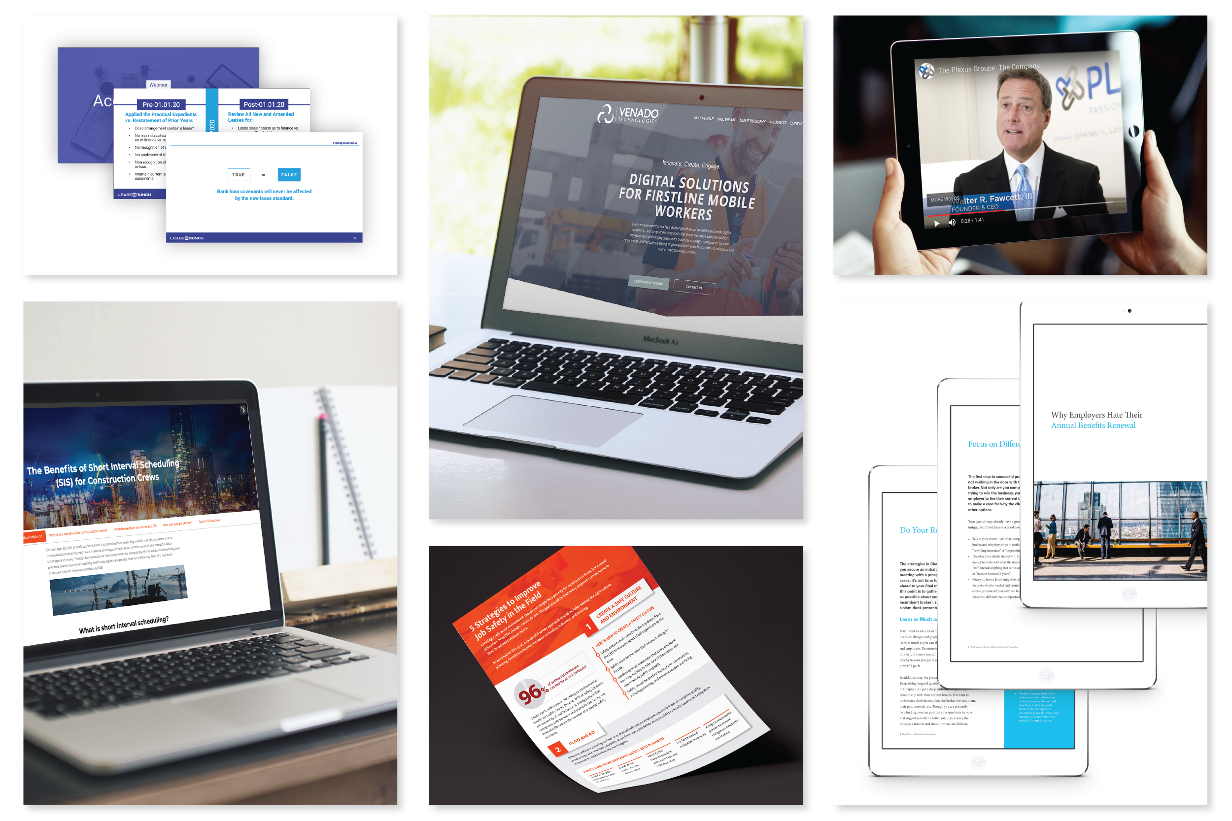 Portfolio displaying different services Accelity offers such as video, web, and content design